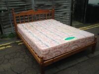 Wooden king size bed with mattress