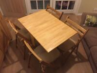 Folding kitchen table - wooden with 4 folding chairs
