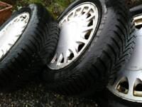 Snow tyres on rims