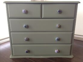 Hand Finished Pine Wood 4 Drawer Chest of Drawers. Finished in pale green with ceramic handles.