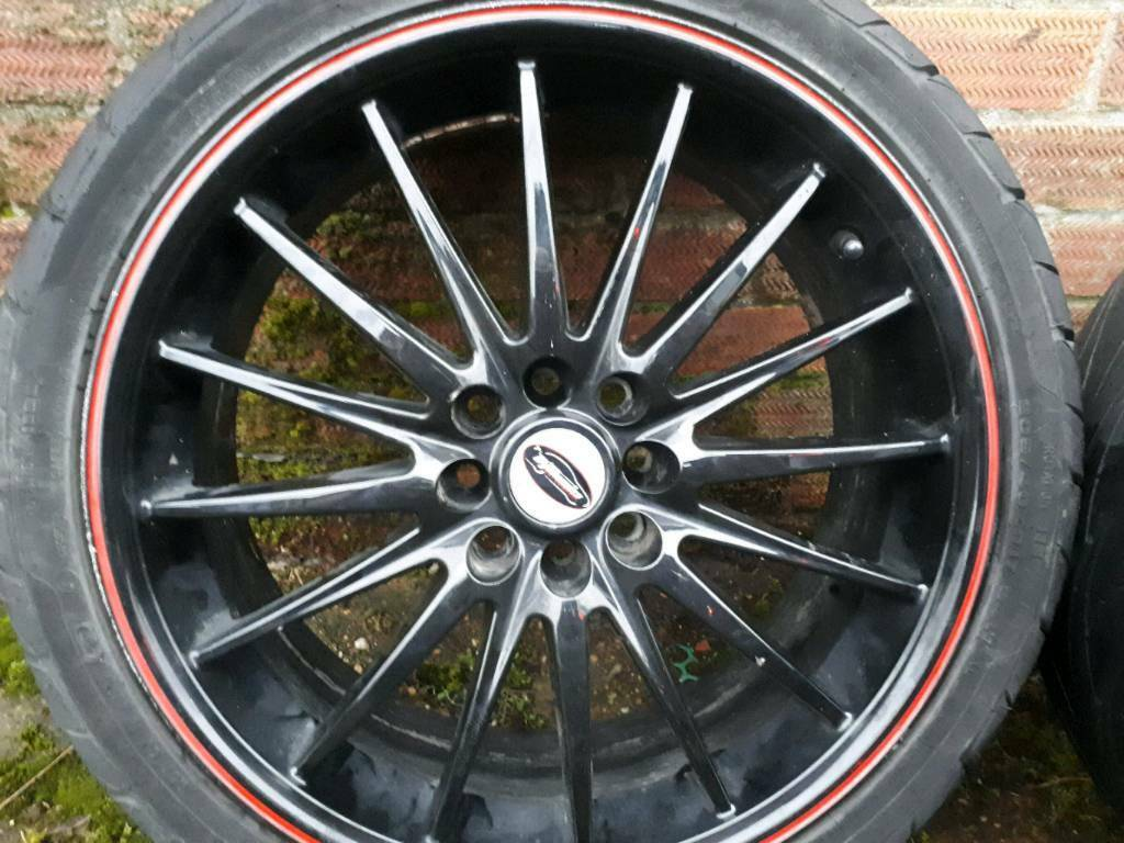 "Team dynamics jet rs black red alloy wheel rims 17""."