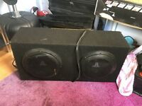 "JL audio twin 10"" subs in box with amp"