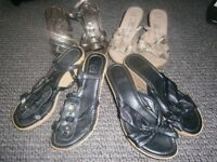 4 pairs of wedge sandals. Hardly worn. Size 6. £2.00 per pair.