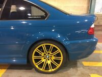 "BMW M3 19"" Alloy wheels professionally refurbished gold lacquer"
