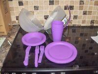 26 Piece Plastic Picnic Camping Dinner Plate Mug Cutlery2 bowls bnib lilac.