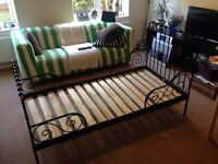 IKEA minnen extendable bed frame with slatted bed base, black
