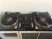 Traktor Kontrol Z2 Mixer with a full copy of Traktor and a pair of Reloop RP-7000 turntables