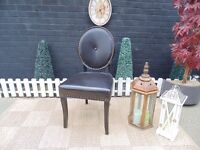 SINGLE BLACK LEATHER BEDROOM CHAIR BEAUTIFUL CHAIR AND IN EXCELLENT CONDITION 48/51/96 cm £30