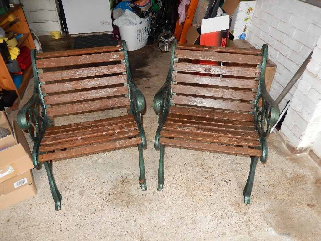 Pair Of Heavy Metal Cast Iron And Wood Vintage Garden Chairs In Chandlers Ford Hampshire Gumtree