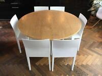 Habitat Folding Round Dining Table Harrison With 6 White Wood Chairs