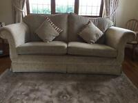 REDUCED BARGAIN PRICE -SOFA, CHAIRS AND FOOTSTOOL / THREE 3 PIECE FABRIC SUITE