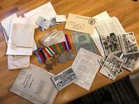 Ww2 medals, paperwork, Mussolini death photos