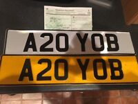 Private number plate. A20 YOB with retention certificate