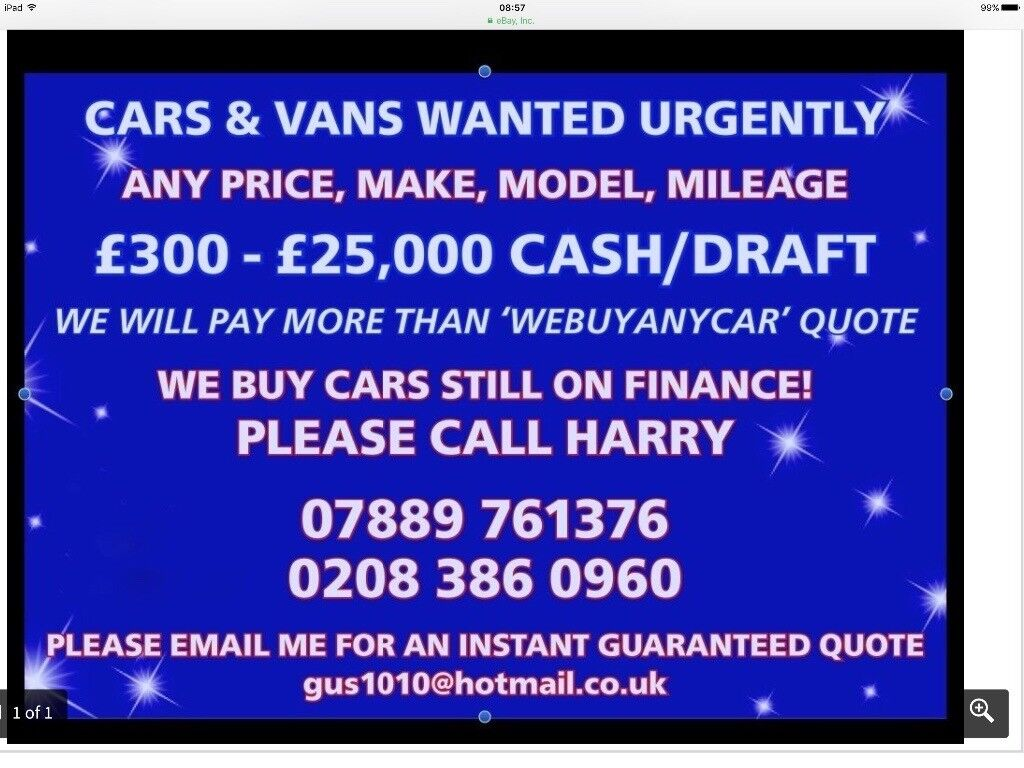 Cash for cars cars for cash sell my car van we buy under 10 years ...