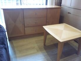 LIGHT OAK SIDEBOARD WITH MATCHING COFFEE TABLE