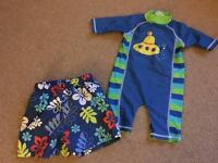 Swim and sun suit and swim shorts (age 9-12 m)