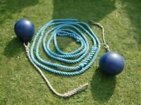 two buoys with ropes . 30 mm thick rope 37 feet long. boat or decorative garden feature
