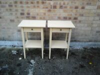 Pair cream coloured side tables with drawer