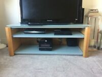 TV Stand with frosted glass shelves