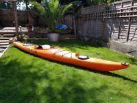 Perception DAGGER 15 Foot Sea/Touring/River Kayak in Bright Orange + Paddle