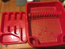 Red dish drainer and cutlery organiser