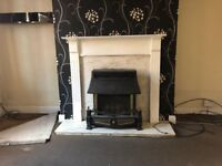 White Marble fireplace wooden surround and gas fire