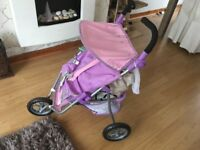 Kids play baby doll double buggy