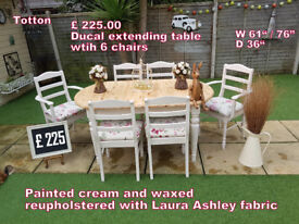 Ducal pine extendable table and 6 chairs