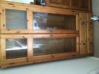Wardrobe, Wood, Glass Fronted, Double Bottom Drawers. Good Condition - Free Collection only