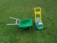 ELC TOY LAWNMOWER AND WHEELBARROW