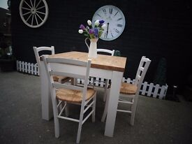 SOLID PINE FARMHOUSE DINING TABLE WITH 4 SOLID PINE CHAIRS PAINTED WITH LAURA ASHLEY CREAM COLOUR