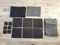 6 black slate placemats & 6 matching coasters - from John Lewis
