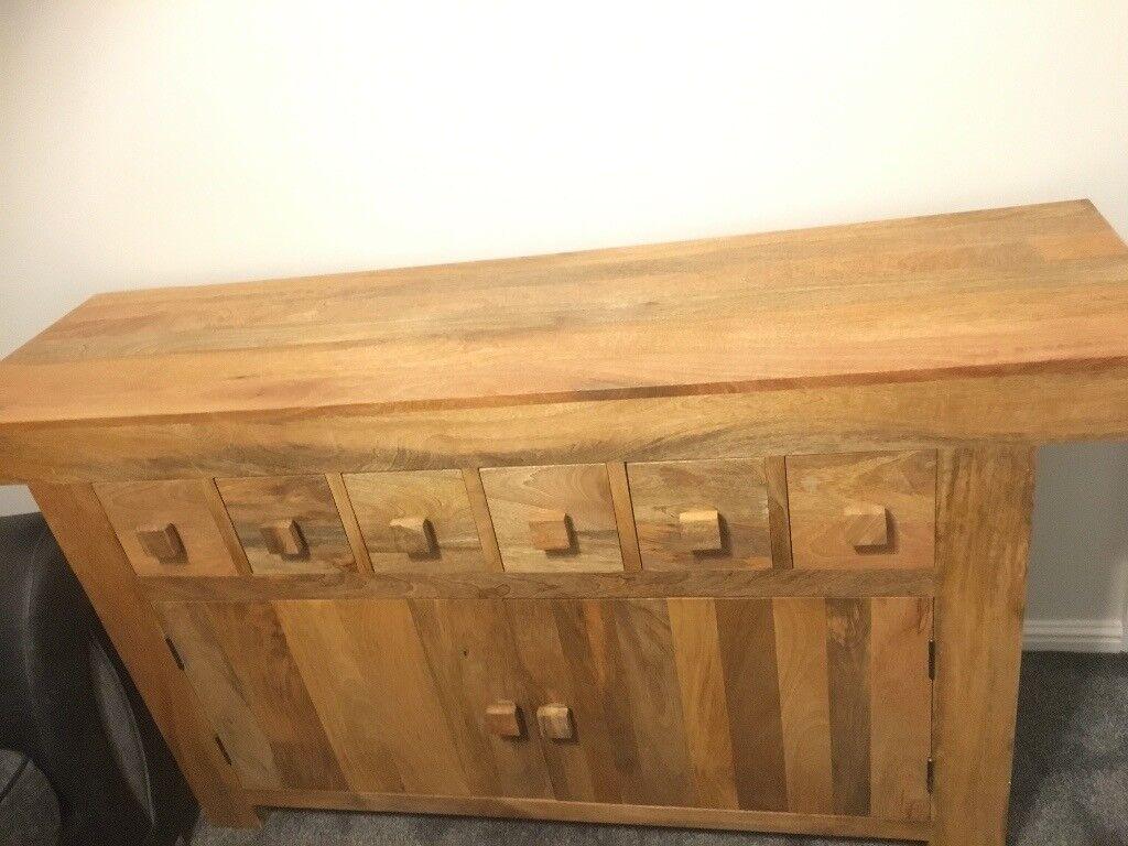 Solid mango oak side board