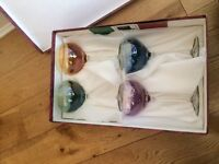 Brand New Italian Cristalleria Fili Fumo couloured wine cocktail glasses - boxed and tagged!