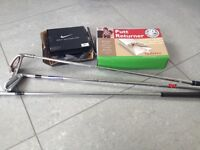Golf clubs, putt retriever , new golf balls and putting cup