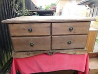 vintage PINE coffee table / TV stand with 4 drawers . . great for up cycle.
