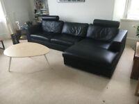 Black Leather Sofa - Corner / L Shape