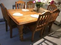 Solid oak farmhouse dining table and 6 chairs large 8 10 seater