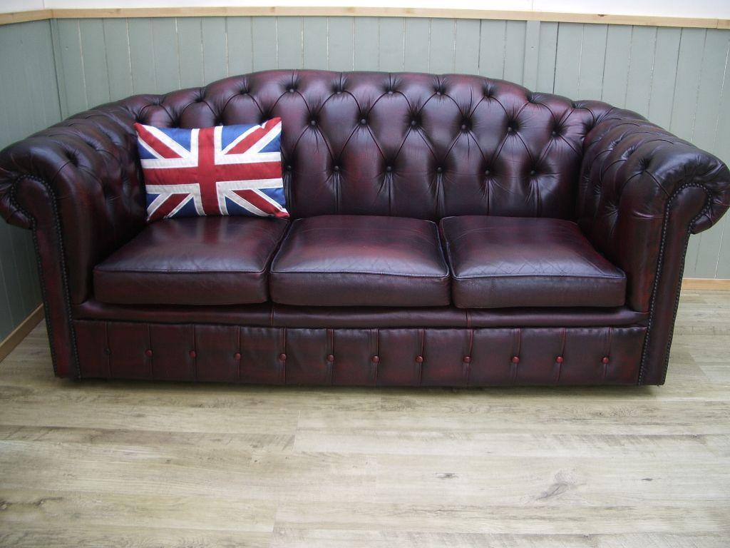 Oxblood Leather Chesterfield 3 Seater In Broughton