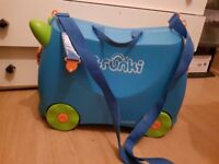 Blue trunki suitcase luggage