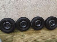 Set of 4 used Audi A2 Snow Winter Tyres + Steel Wheels 155/65 R15 T