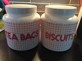 Vintage tea bags and biscuits jars, milk glass, excellent condition