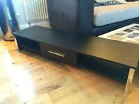 Black Chrome Low Profile Tv Stand Table