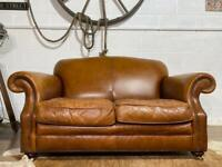 LAURA Ashley Vintage Leather 2 SEATER Sofa Brown