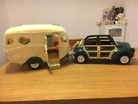 Sylvanian car & caravan, canal boat & horse set