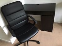ikea desk & swivel chair & work lamp