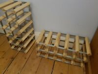 TWO x 15 BOTTLE WINE RACK NATURAL PINE GALVANISED STEEL. ALREADY ASSEMBLED