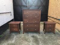 Solid dark oak chest of draws + side cabinets •free delivery