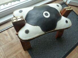 Handmade Retro Leather Saddle Style Foot Stool
