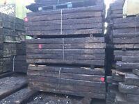"Reclaimed Hardwood Creosote Treated Railway Sleepers, 8'6"" x 10"" x 6"" (2.6m x 250mm x 150mm)"